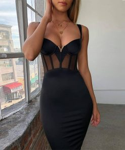 V Neck Bandage Mesh Dress 1