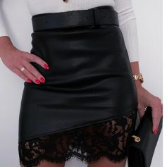 Leather and Lace Asymmetrical Skirt