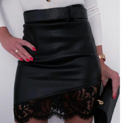 Leather and Lace Asymmetrical Skirt 1