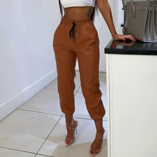 Faux Leather Drawstring Joggers  2