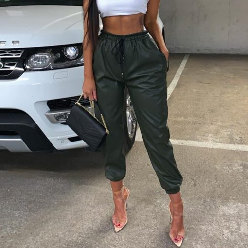 Faux Leather Drawstring Joggers