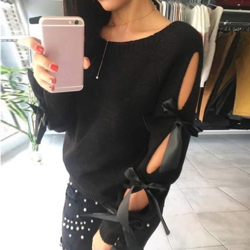 Hollow Out Bow Sweater 4