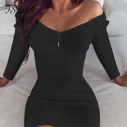 Long Sleeve Casual V Neck Bodycon Dress 2