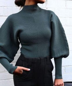 Bell Sleeve High Neck Winter Sweater 2