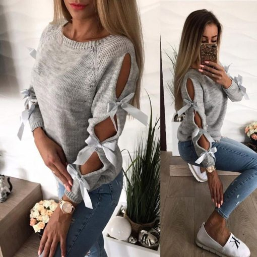 Hollow Out Bow Sweater 3