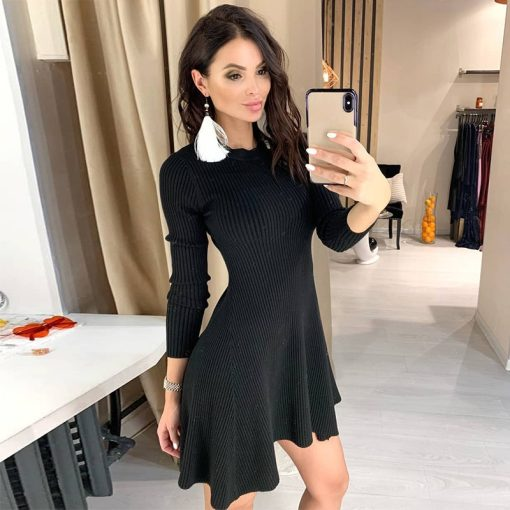 Long Sleeve Asymmetrical Hem Sweater Dress 2