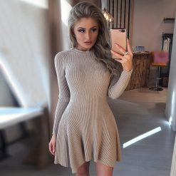Long Sleeve Asymmetrical Hem Sweater Dress 1