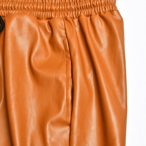 Faux Leather Drawstring Joggers  5