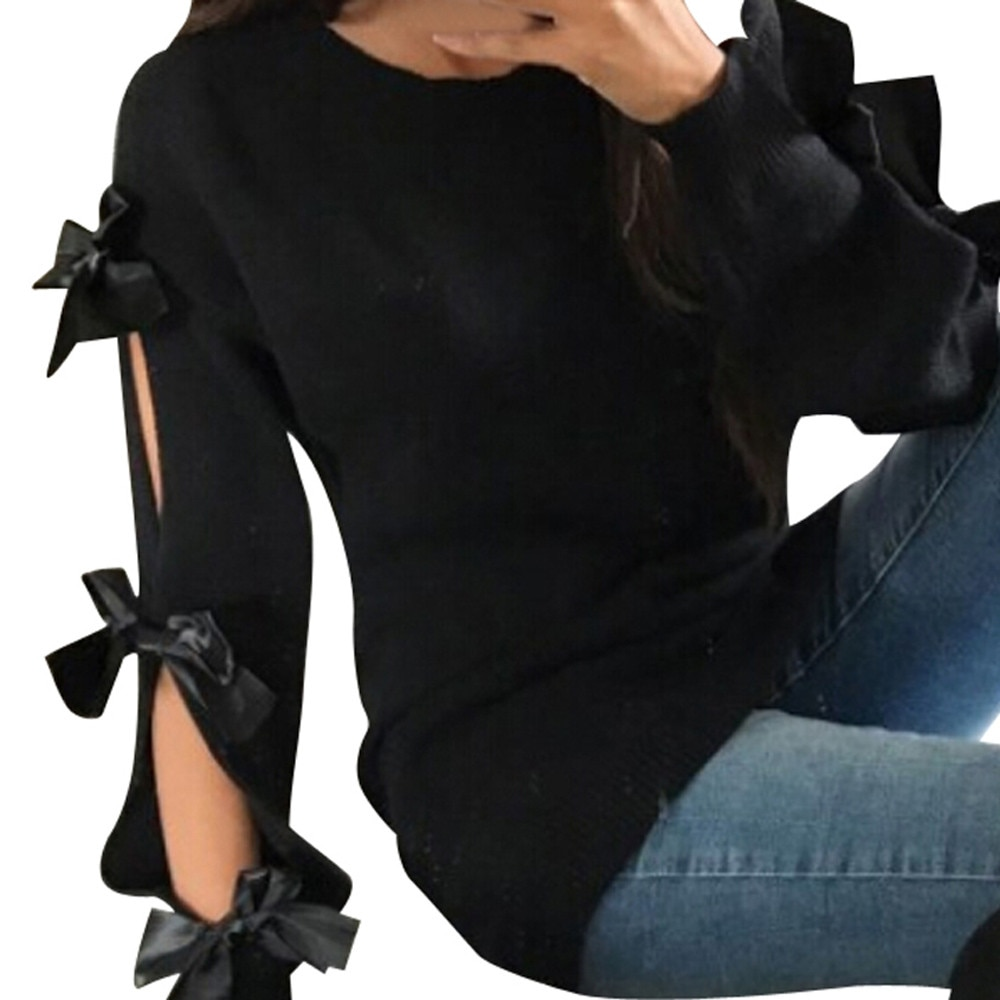 Hollow Out Bow Sweater 8