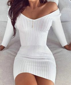 Long Sleeve Casual V Neck Bodycon Dress 247x296 - Long Sleeve Casual V Neck Bodycon Dress