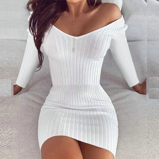 Long Sleeve Casual V Neck Bodycon Dress 510x510 - Long Sleeve Casual V Neck Bodycon Dress