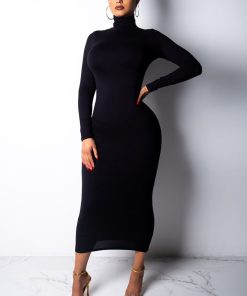 Turtleneck Bodycon Midi Dress 247x296 - Turtleneck Bodycon Midi Dress
