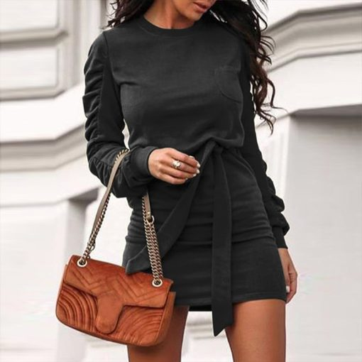 Belted Long Sleeve Crew Neck Dress 15