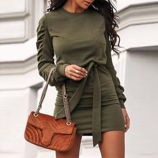 Belted Long Sleeve Crew Neck Dress 11