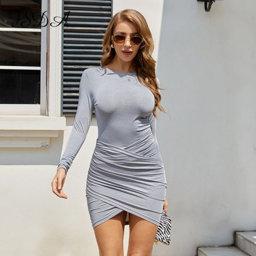 Gray Cross Front Ruched Mini Dress 4