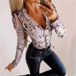 Animal Print Long Sleeve Button Up Bodysuit 3
