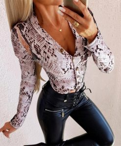 Animal Print Long Sleeve Button Up Bodysuit
