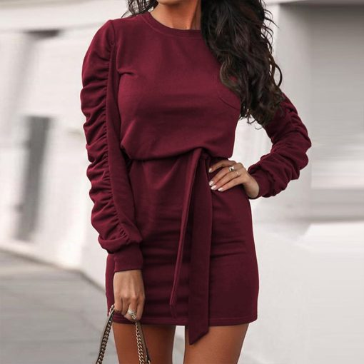 Belted Long Sleeve Crew Neck Dress 16