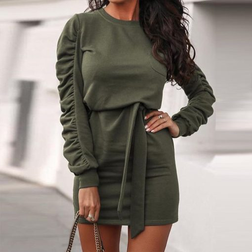 Belted Long Sleeve Crew Neck Dress 12