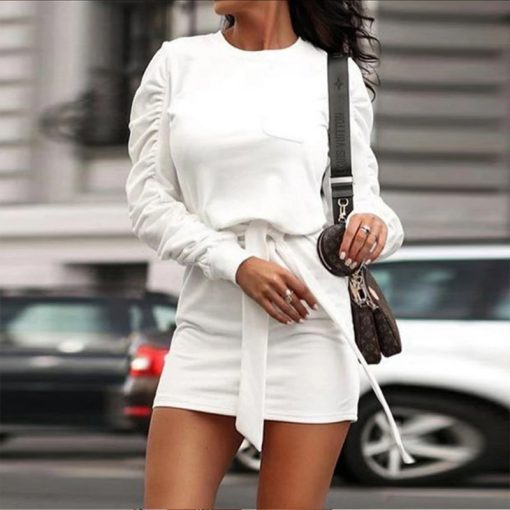 Belted Long Sleeve Crew Neck Dress 13