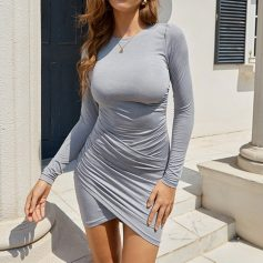 Gray Cross Front Ruched Mini Dress
