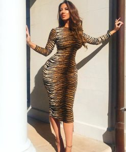 Wild Child Animal Print Long Sleeve Bodycon Dress 247x296 - Wild Child Animal Print Long Sleeve Bodycon Dress