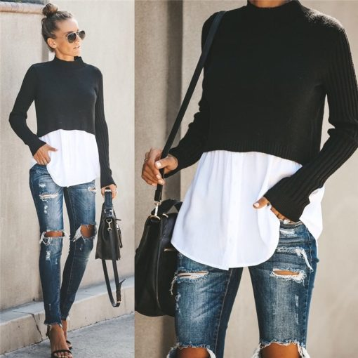 Turtleneck Double Layered Sweater Top 1