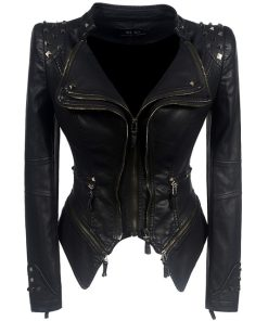 Studded Faux Leather Moto Jacket 1