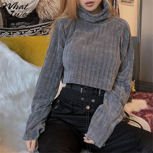 Cropped Turtleneck Knitted Sweater 4