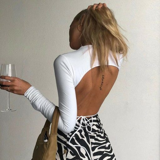 Open Back T-shirt Cropped Top 1