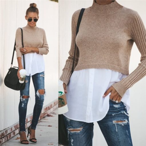 Turtleneck Double Layered Sweater Top 9