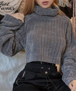 Cropped Turtleneck Knitted Sweater 1