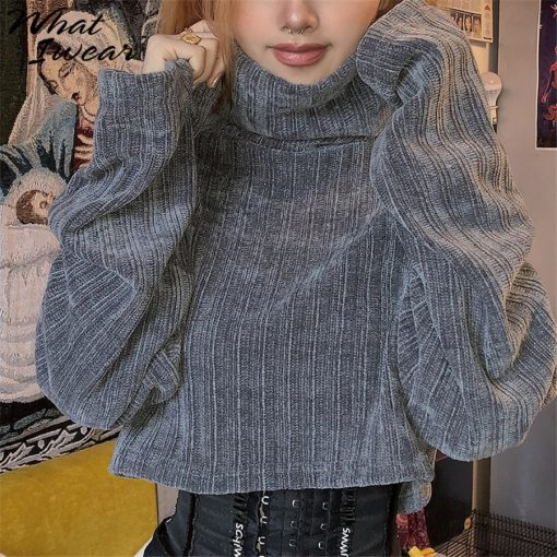 Cropped Turtleneck Knitted Sweater