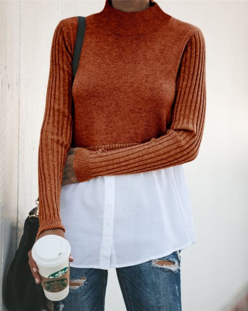 Turtleneck Double Layered Sweater Top 12
