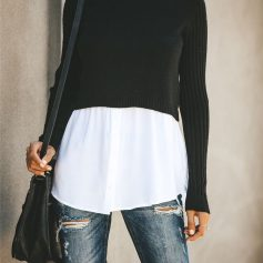Double Layered Turtleneck Sweater Top