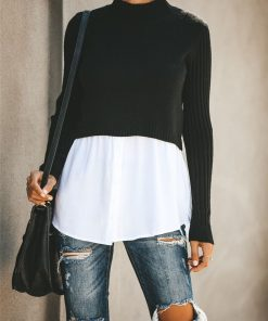 Turtleneck Double Layered Sweater Top