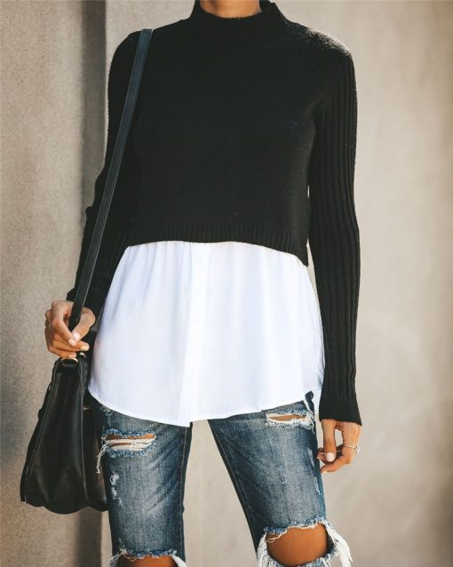 Turtleneck Double Layered Sweater Top 8