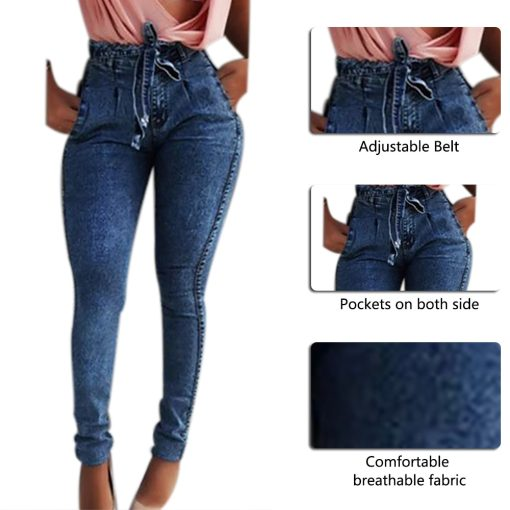 High Waisted Stretch Tie Jeans 5