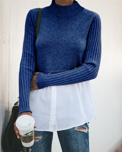 Turtleneck Double Layered Sweater Top 13
