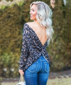 Leopard Reversible Long Sleeve Twist Tee 1