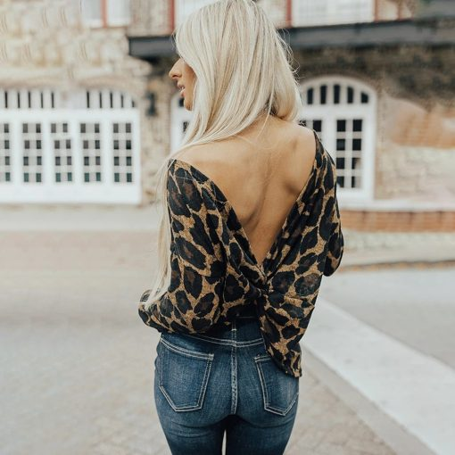 Leopard Reversible Long Sleeve Twist Tee