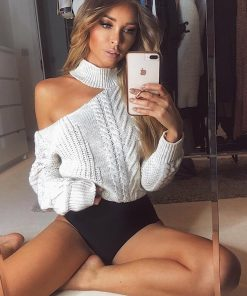 Slit Shoulder High Neck Knit Pullover Sweater