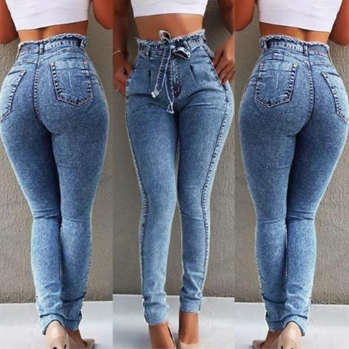 High Waisted Stretch Tie Jeans 4