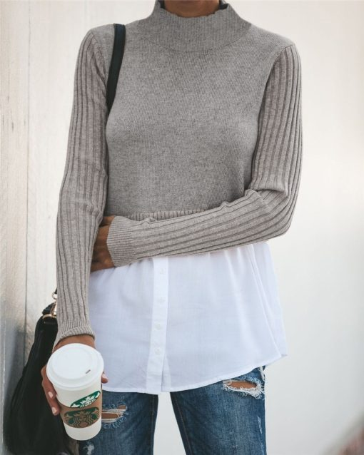 Turtleneck Double Layered Sweater Top 11
