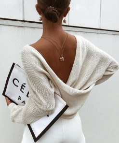 Reversible Criss Cross Knitted Long Sleeve Sweater