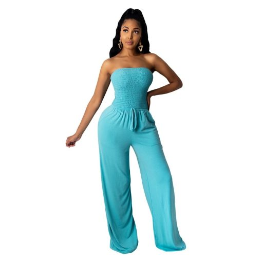 Tie Front Strapless Casual Romper Jumpsuit